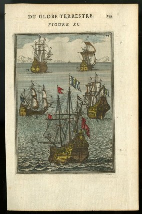 Hand-Colored Engraving of Five Tall Ships [from Description de l'univers c.1683]. Mallet Allain...
