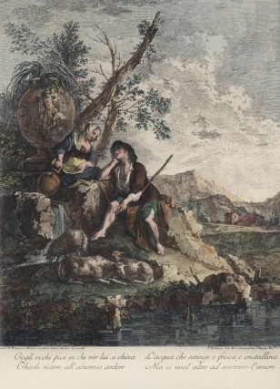 Alla fonte costei bagna le piante... [18th century Color Lithograph Reproduction. Zuccarelli Francesco.