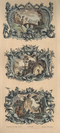 Two Color Lithograph Reproductions of 18th Century Landscapes. Cuvillies Francois de.