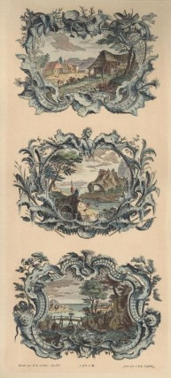 Two Color Lithograph Reproductions of 18th Century Landscapes