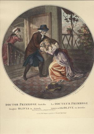 Doctor Primrose finds His Daughter Olivia in distress [19th Century Lithograph of an 18th Century Engaving].