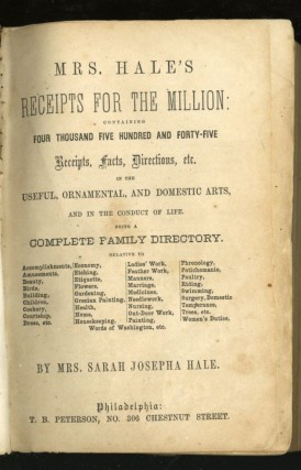 Mrs. Hales Receipts for the Millions containing Four Thousand Five Hundred and Forty-Five Receipts, Facts, Direction etc, in the Useful, Ornamental, and Domestic Arts, and in the conduct of Life being a Complete Family Directory