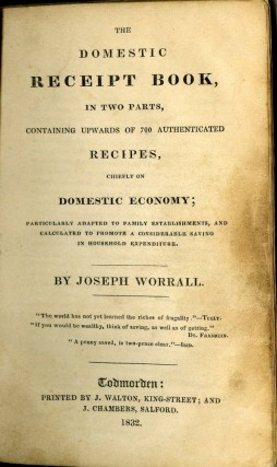 The Domestic Receipt Book. Worrall Joseph.