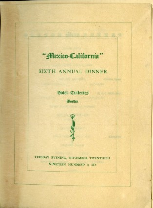 Mexico-California Party Archive (Menus, cruise ship ephemera, photos, etc.). Hay Mr., Mrs. E. C