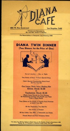 Diana Cafe Restaurant Menu.