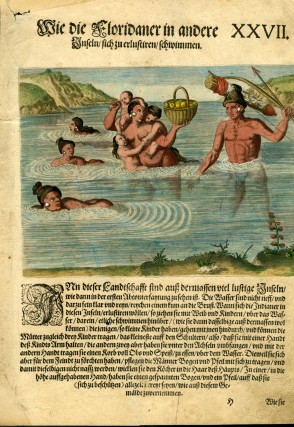"Hand Colored Engraving from a German Language Edition of Le Moyne's Brevis narratio [ca. 1591 from De Bry's ""Grand Voyages to the Americas""]: XXVII. Floridians Crossing Over to an Island to take their Pleasure. Theodor de Bry, Jacques Le Moyne de Morgues."