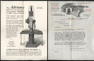 Adriance Machine Works Ephemera: Automatic Syruping, Filling and Crowning Machine for Carbonated Beverages