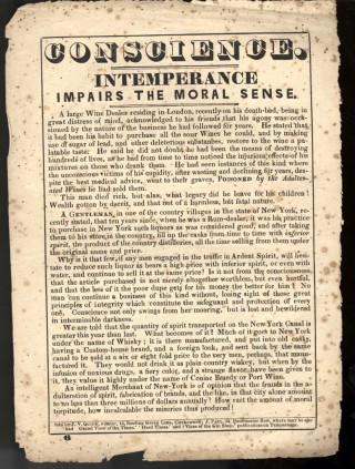 Conscience. Intemperance Impairs the Moral Sense [Temperance Broadside