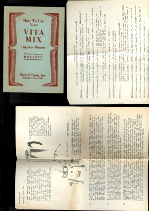 Old Country Vita Mix Recipes [with] How to Use Your Vita Mix Liquefier - Blender [with] various Vita Mix ephemera