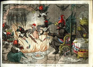 The kitchen below or: Beelzebub going to supper. Gillray James